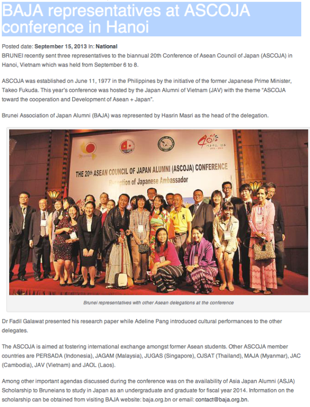 Dr Fadil Galawat's article on our ASCOJA 20th Conference at Hanoi up at BB