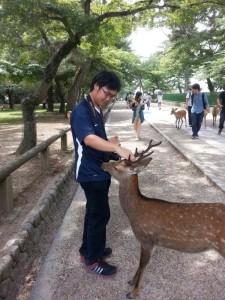 Feeding and petting a deer at Nara